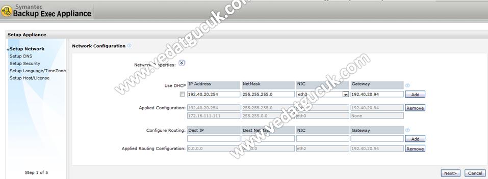 Symantec Backup Exec 3600 R2 Appliance Kurulumu
