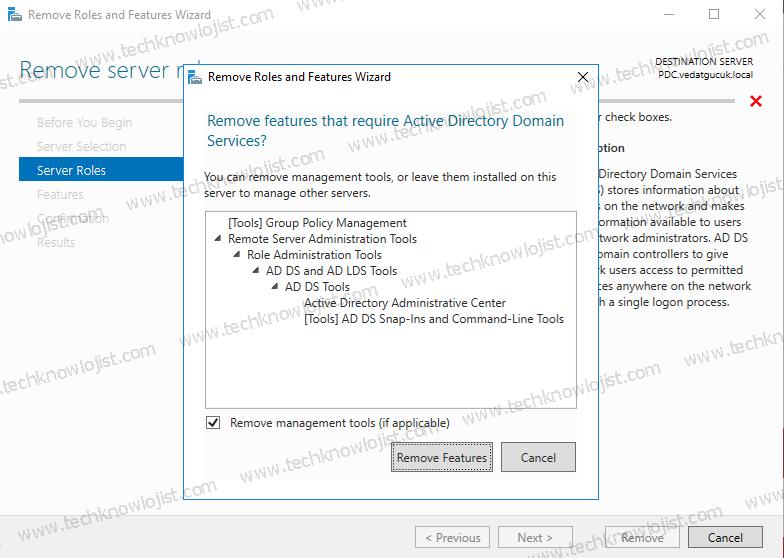Windows Server 2016 Active Directory Kaldırma